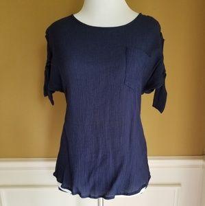 MINE  blue cold shoulder blouse